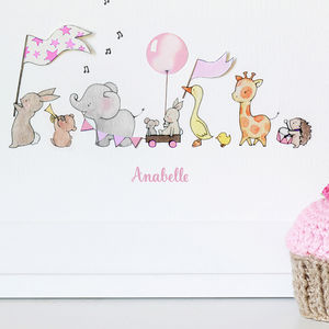 Personalised Pink Parade Nursery Print - children's room