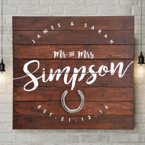 Personalised 'Mr And Mrs' Horseshoe Wedding Wooden Sign - typography