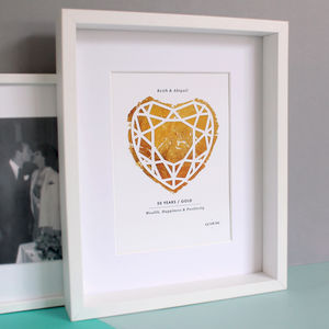 Gold 50 Years Anniversary Personalised Papercut Print