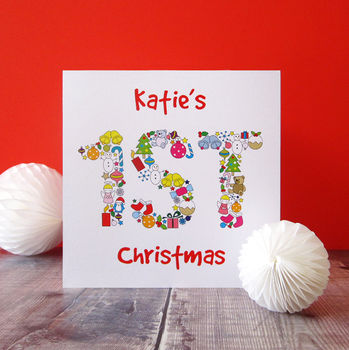 Little girls first Christmas card personalised