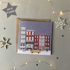 New York Christmas Cards Set Of Five - seasonal cards