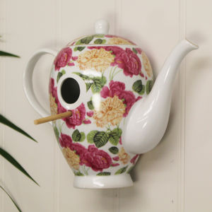 Floral Coffee Pot Bird Nest Box - birds & wildlife