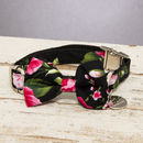 The Chelsea Pink And Black Floral Dog Collar Bow Tie