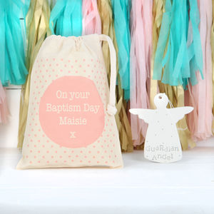 Ceramic Angel And Pink Personalised Gift Bag
