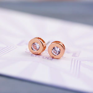 Small Round Solitaire Earrings - for children