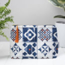 Marisol Toiletry Bag, Blue And Orange Pattern Wash Bag