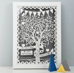 Personalised Love Tree Papercut With Bunting - 50th anniversary: gold