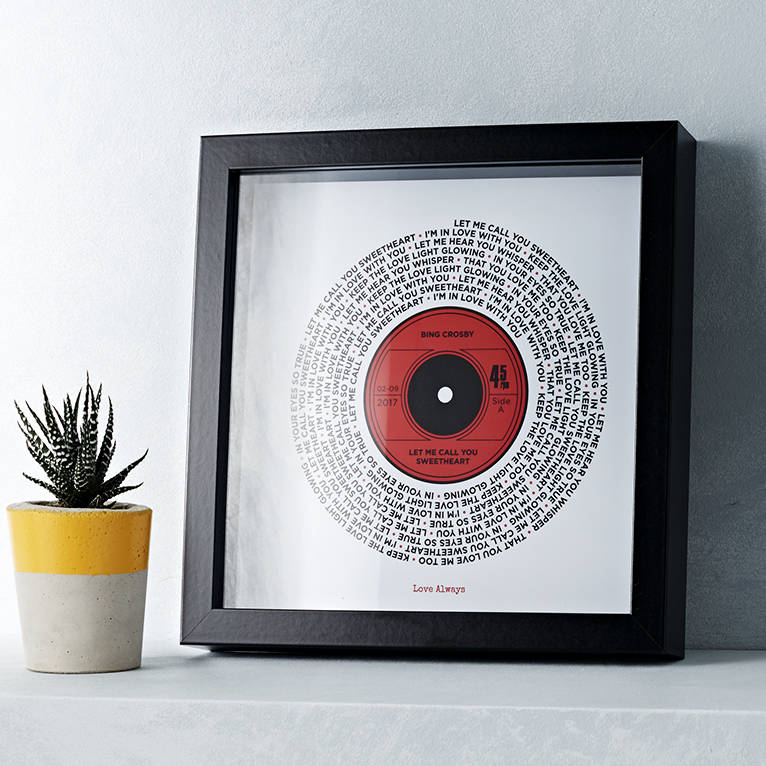 Personalised Lyrics Record Print By Yours For Keeps