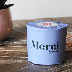 'Merci Beaucoup' Wrapped Soy Candle Jar - wedding gifts for mothers