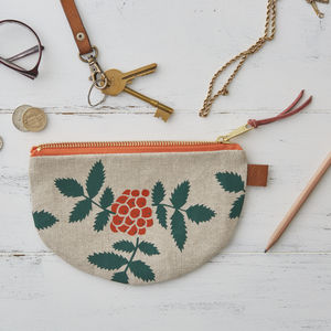 Rowan Berry Botanical Half Moon Linen Purse