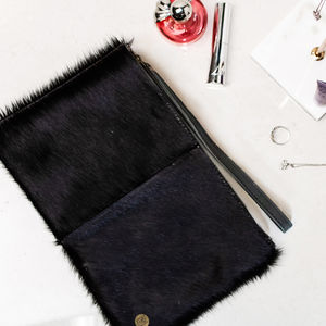 Classic Clutch Bag In Black Natural Pony Hair