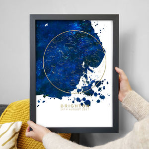 Metallic Map Of The Stars Print - dates & special occasions