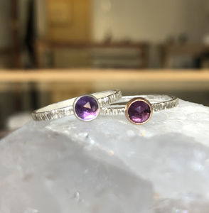 Amethyst Textured Band Ring - rings