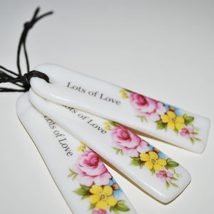 'Lots Of Love' Floral Porcelain Tag