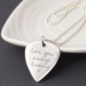 Personalised Handwriting Silver Plectrum Necklace