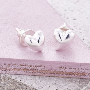 Simply Heart Silver Or Gold Stud Earrings