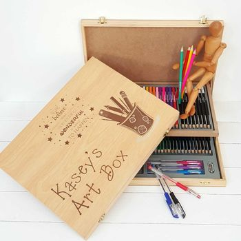 Personalised Child's Wooden Art Box