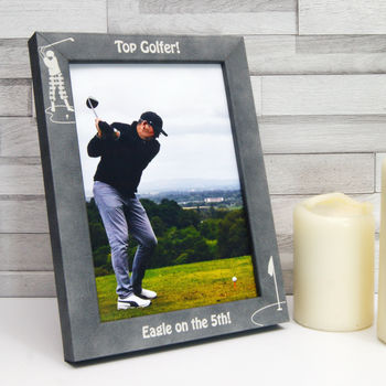 Personalised Stone Effect 'Top Golfer' Photo Frame