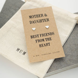 Mother And Daughter Message Silver Earrings - earrings