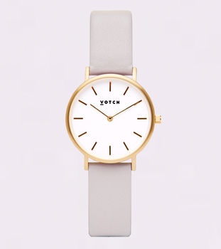 Light Grey And Gold Petite Vegan Leather Watch