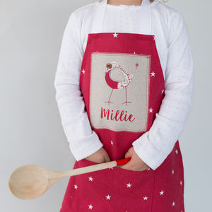 Personalised Handmade Little Robin Christmas Apron