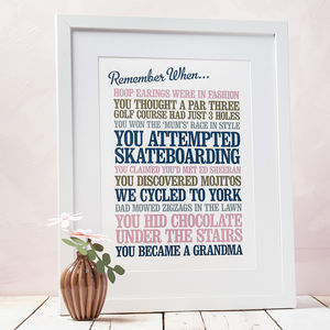 Personalised 'Remember When' Print - for him