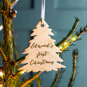 Personalised Gold First Christmas Tree Decoration - baubles & hanging decorations