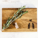 Two Penguins Personalised Oak Cutting Board