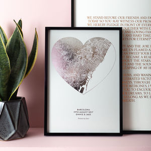 Custom Metallic Heart Shaped Map Print - new in prints & art