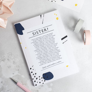Sister Notebook With Sister Poem