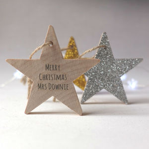 Personalised Hanging Christmas Star Decoration