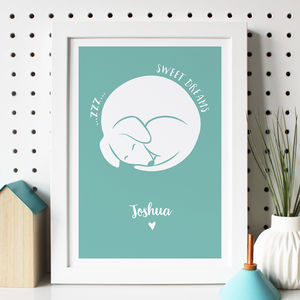 Personalised Sleeping Dog Nursery Print