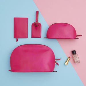 The Ultimate Matching Leather Travel Set For Women - make-up & wash bags