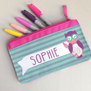 Children's Personalised 'Wise Owlet' Fabric Pencil Case - whats new