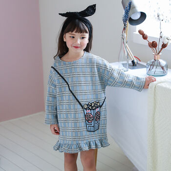 Popcorn Pocket Dress Baby Blue