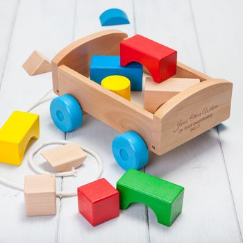 Personalised Pull Along Wooden Building Block Wagon Toy