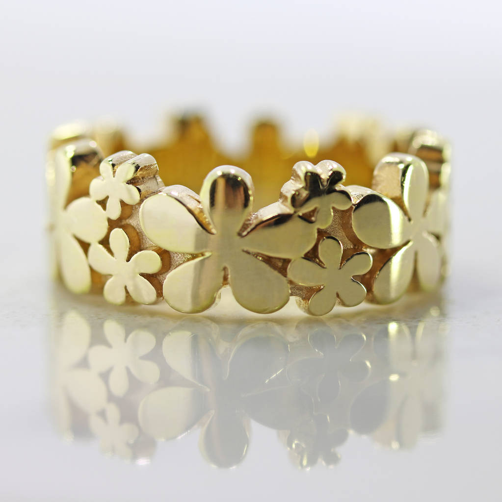 Yellow gold daisy ring by flawless jewellery notonthehighstreet yellow gold daisy ring mightylinksfo