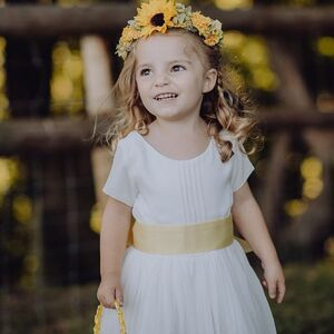 Flower Girl Dress With Colour Or White Sash