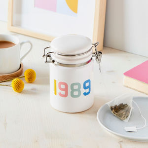 Personalised Birth Year Ceramic Storage Jar