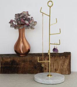 Staggered Brass And Marble Jewellery Stand - jewellery storage & trinket boxes