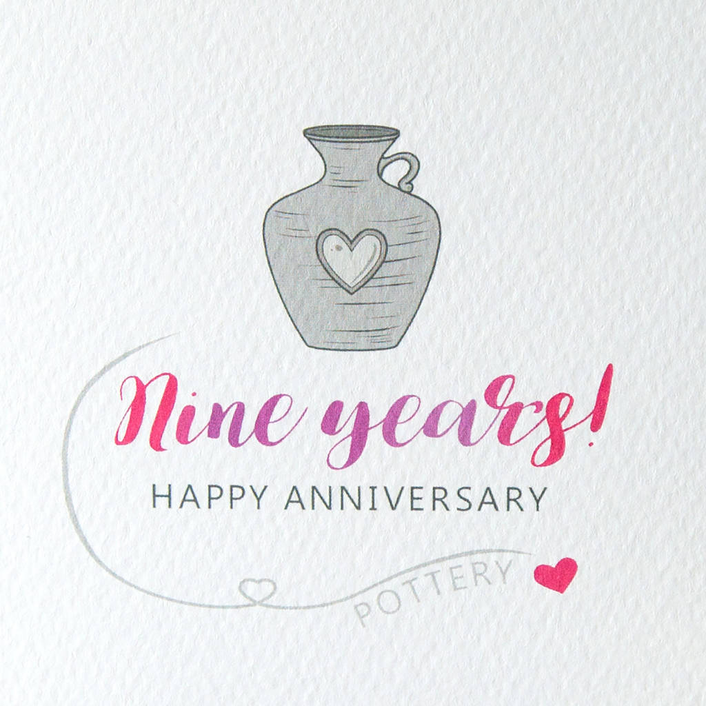 9th Wedding Anniversary Card Pottery