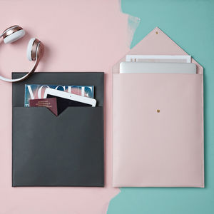 Personalised Leather Laptop And Document Sleeve For Her - tech accessories for her