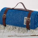 Royal Blue Luxury Picnic Rug In Strap