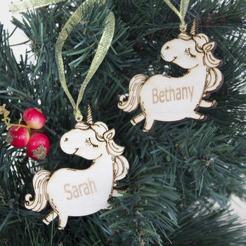 Personalised Chubby Unicorn Bauble