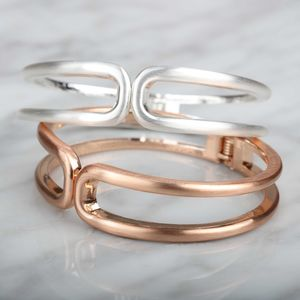 Textured Silver Or Rose Gold Double Row Cuff Bangle - bracelets & bangles