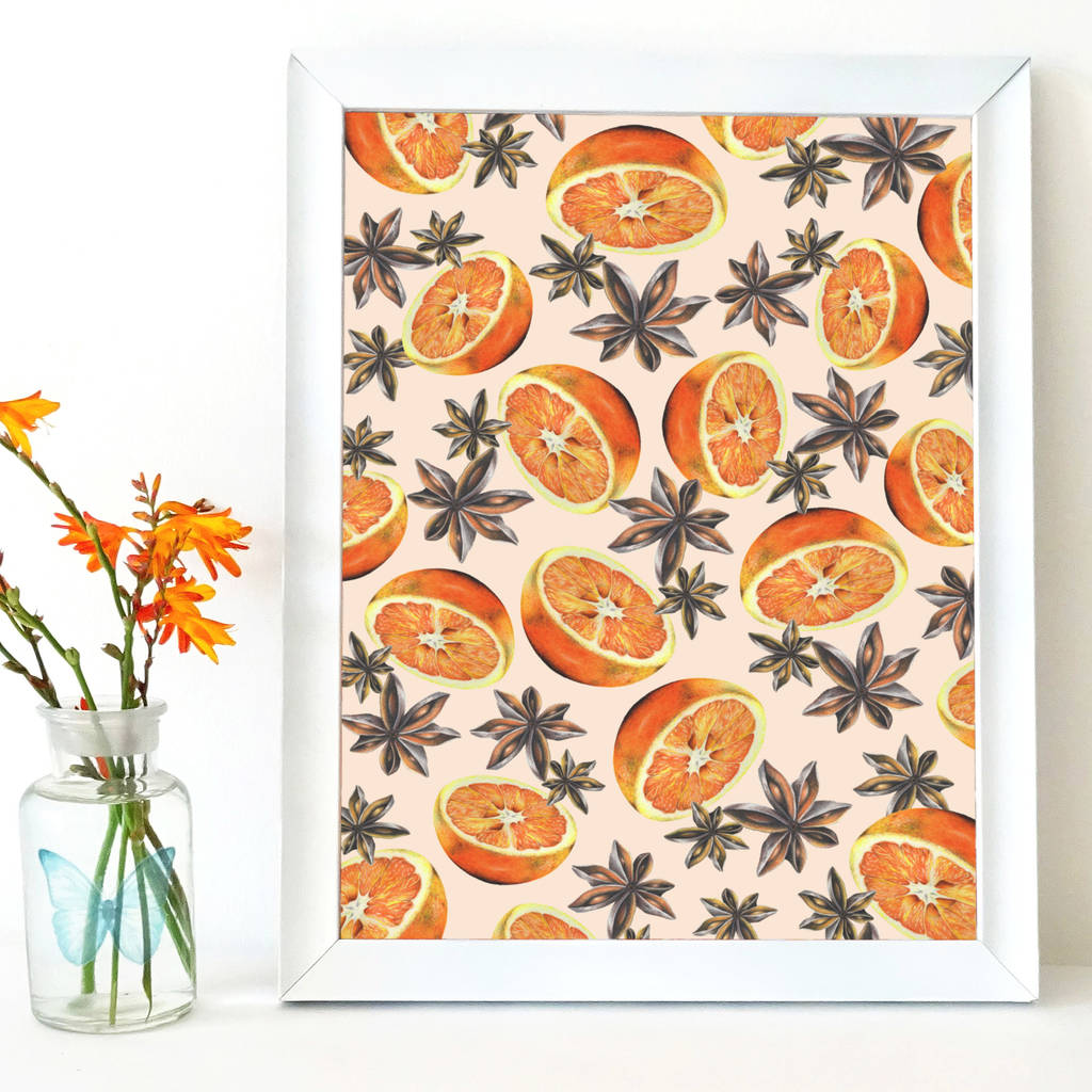 Oranges And Star Anise Pattern Art Print