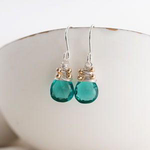 Apatite Quartz Drop Earrings - january blues, greens & greys