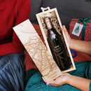 Personalised Coordinates And Map Wine In Wooden Box
