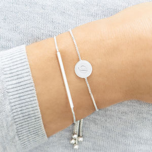 Personalised Skinny Disc And Bar Bracelet Set