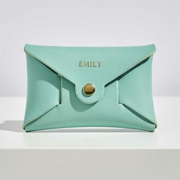 Personalised Mint Green Leather Card + Coin Purse